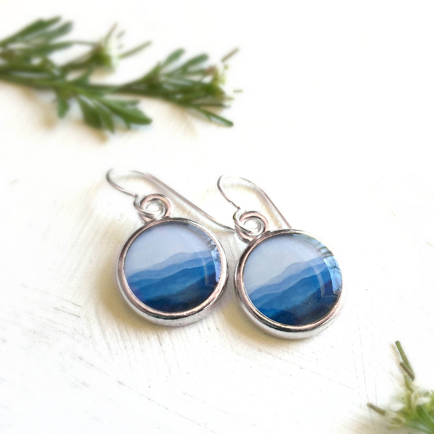 Mountain Jewelry Blue Mountain Earrings Nature Gift Blue Etsy