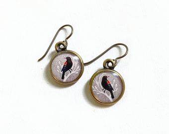 Redwing Blackbird Bird, Blackbird Earrings, Red and Black Earrings, Bird Earring