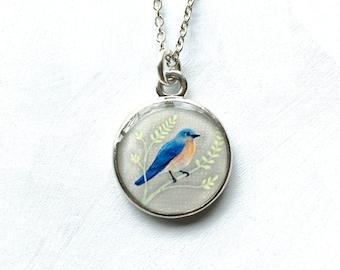 Bluebird Necklace, Bluebird of Happiness, Original Resin Jewelry, Silver Bird Necklace, Blue Bird,  Eastern Bluebird, Bird Jewelry