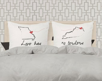 love has no borders standard size pillow case SET OF TWO  - perfect wedding gift for the formerly long distanced newlyweds