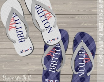 cd21316435995 wedding flip flops - bride and groom personalized last name and date wedding  flip flops - set of two