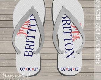 b37ffeb20 wedding flip flops - bride to be personalized last name and date wedding  flip flops
