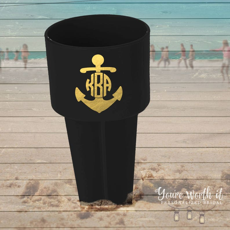 great for trips to the beach MSPK1-001 Metallic anchor monogram beach spiker
