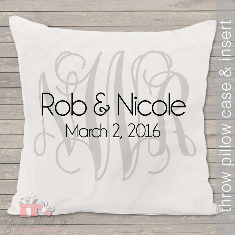 Monogram wedding pillow  THROW pillow size 14 x 14 perfect image 0