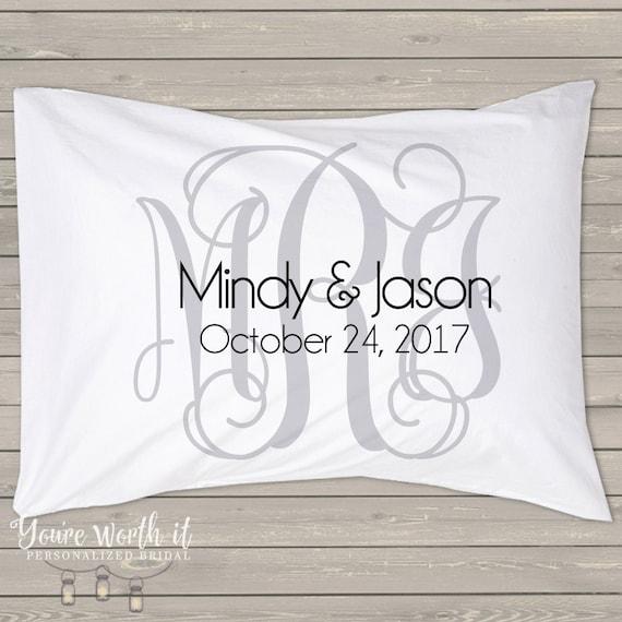 monogram bridal pillow standard pillow size case perfect. Black Bedroom Furniture Sets. Home Design Ideas