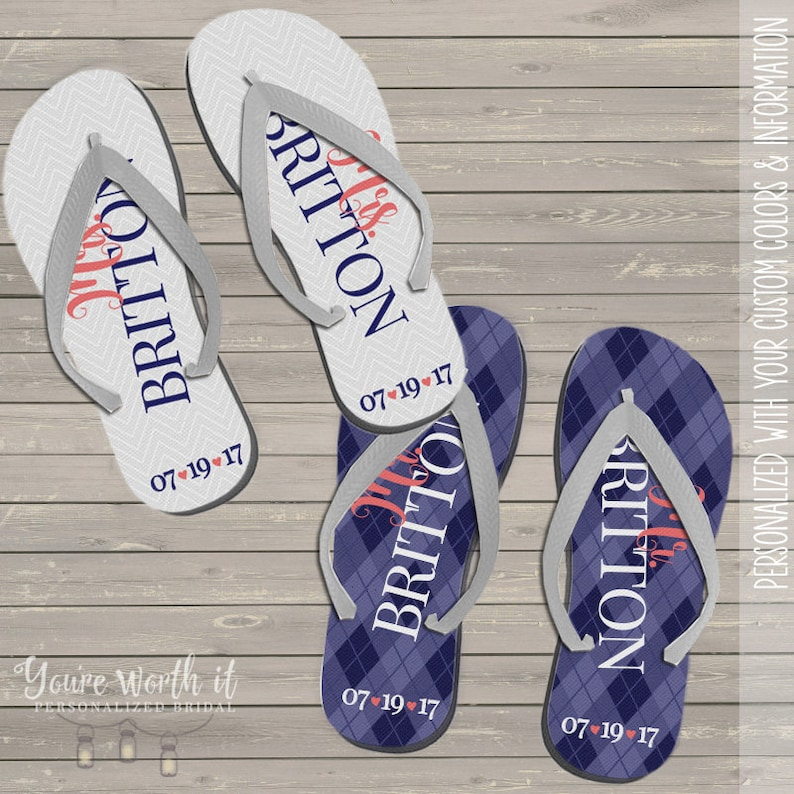 e16808dbad54 wedding flip flops - bride and groom personalized last name and date  wedding fli... wedding flip flops - bride and groom personalized last name  and date ...