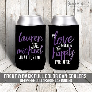 bachelorette party  bachelor party can coolers beverage insulators for wedding bachelor parties  love laughter happily ever after MCC-016