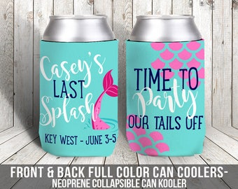 mermaid bachelorette party can coolers, beverage insulators for wedding bachelorette parties - party our tails off MCC-006