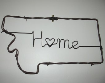 Handmade Montana Barbed Wire Wall Art, Barb Wire Art, Montana Wall Hanging, Montana Welcome Sign, Home Welcome Sign