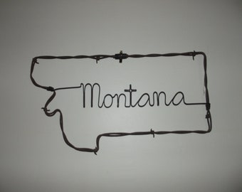Handmade Montana Barbed Wire Wall Art, Barb Wire Art, Montana Wall Hanging, Montana Welcome Sign