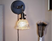 Ruffled Shade Light - Articulating Wall Sconce with Antique Holophane Crystal Glass Shade - Brass Light Fixture - Vintage Lamp Mood Lighting
