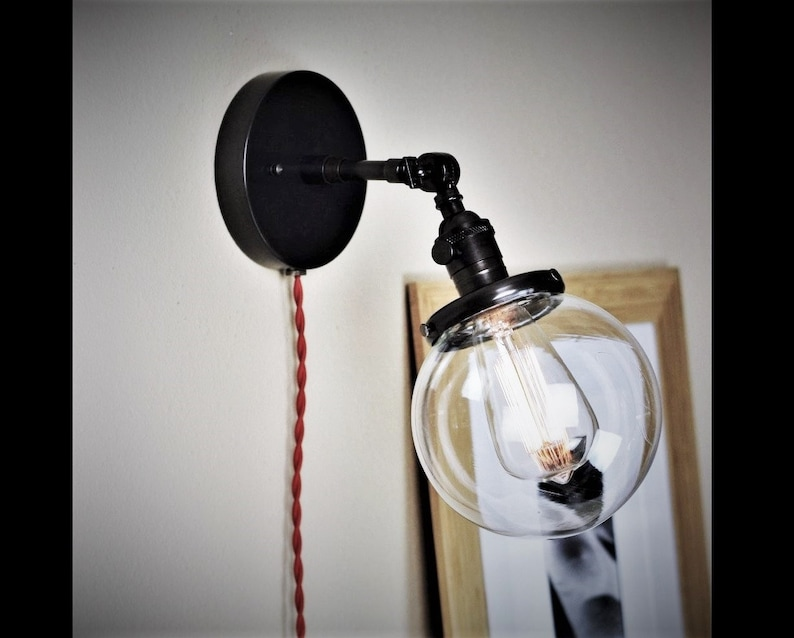 Superb Articulating Wall Sconce 6 Clear Glass Globe And Etsy Wiring Digital Resources Antuskbiperorg