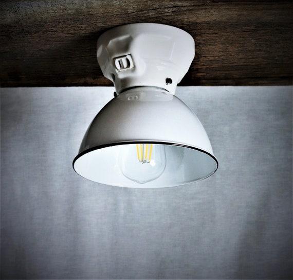 White Porcelain Ceiling Light Fixture Semi Flush Light 7 Steel Lamp Shade Vintage Mid Century Modern Home Decor Kitchen Lighting