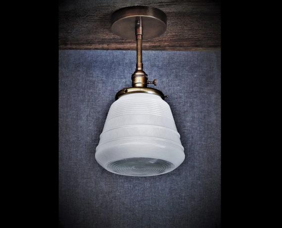 los angeles add13 11727 Ceiling Light Fixture - Semi Flush Kitchen Light - Mid Century Modern Milk  Glass Globe and Antique Custom Hand-Finished Brass Fixture