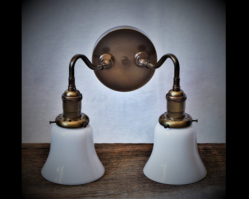 online store 89606 e90db Vintage Wall Sconce - Adjustable Articulating Wall Mount - Twin Mini Bell  Shades and Custom Hand-Finished Brass - Custom Built