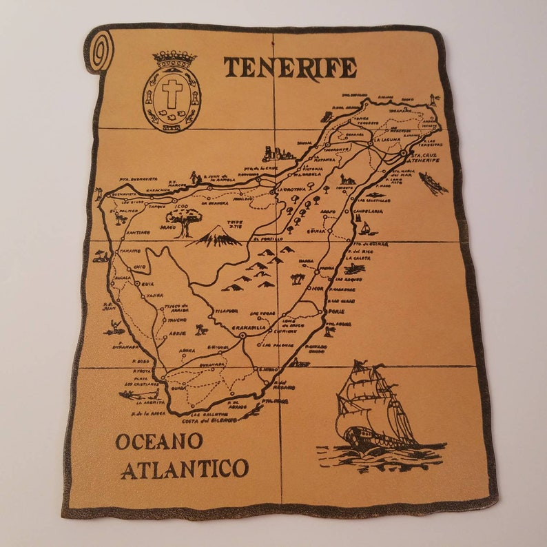 Map Of Spain Tenerife.Vintage Tenerife Cork Map Souvenir Canary Islands Spain Etsy