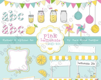 Lemonade Stand Clip Art Digital Scrapbook Pack digital files only - Instant download