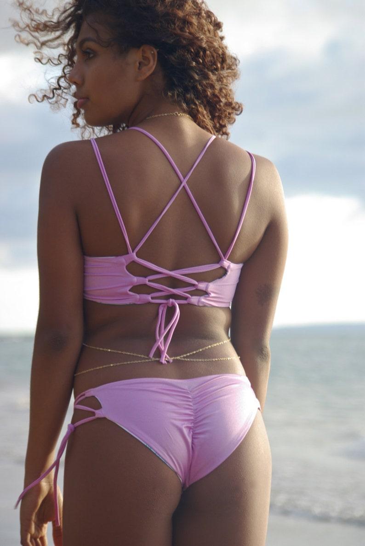 1dd152281a029 Pahoa  Reversible Lace Up Corset Halter Bikini Top