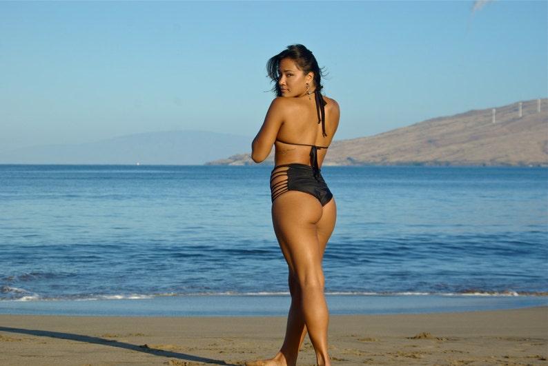 ce5e48dc657f8 REVERSIBLE : FUJI High Waisted Strappy Bikini Bottoms Custom | Etsy