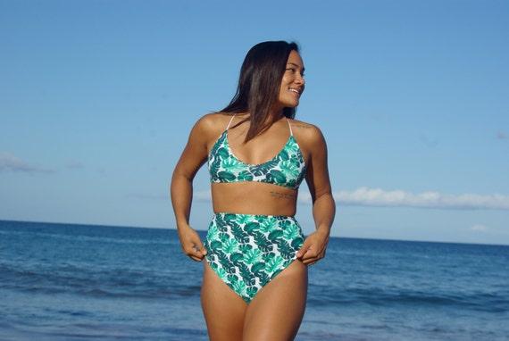 7ab099001dbe8 KAHEKILI Cross Back Halter Bikini Top Create Your Own