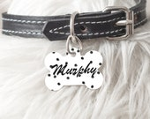 Personalized Dog Tag Cat ID Bone Oval Heart Shaped Custom Pet ID Tag Two sided or One Side Painted Black dots