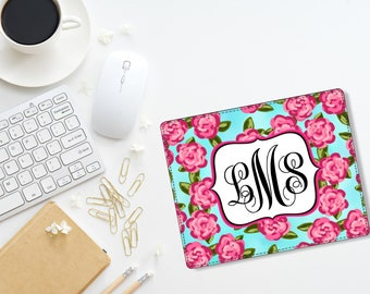 Custom Monogram Personalized PU Leather Mouse Pad Gift Office Accessories  Desk Home Office Lilly Pulitzer Inspired Roses Back To School