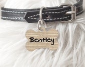 Personalized dog Tag Cat tag Bone Oval Heart Shaped Custom Pet ID Tag Two sided or One Side Beige wood Gift Puppy