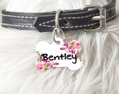 Personalized Dog Tag Cat Tag Bone Oval Heart Shaped Custom Pet ID Tag Two sided or One Side Flowers Soft Pink