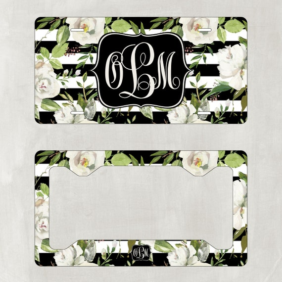 Monogram License Plate Island Hibiscus with Matching Key Chain Car Tag Custom License Frame Personalized License Licence Tag