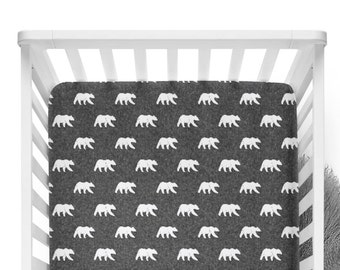 Fitted Crib Sheet Bears on Dark Grey Linen - Little Arrow Design Co -Woodland Crib Sheet-Bear Crib Bedding-Bear Crib Sheet-Organic