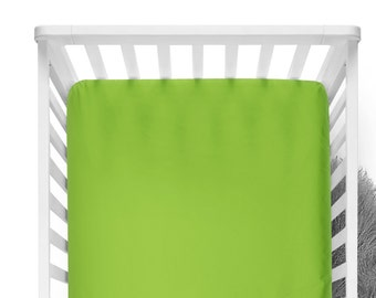 Fitted Crib Sheet -Chartreuse- Solid Crib Sheet - Flat Crib Sheet - Crib Sheet - Toddler Sheet - Baby Sheet -Solid Lime Fitted Sheet-Bedding