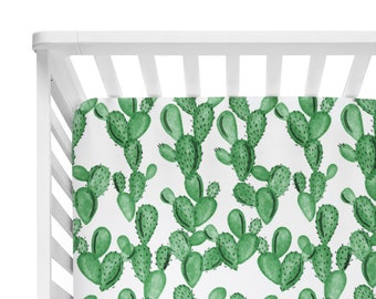 Fitted Crib Sheet Watercolor Cactus Green - Cactus Crib Sheet - Green Crib Sheet - Baby Bedding - Organic Sheet - Succulent Crib Sheet