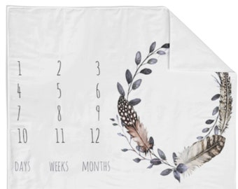 Monthly Milestone Blanket Watercolor Feather - Crib Blanket - Baby Blanket - Feather Blanket - Monthly Counter Blanket - Baby Gift