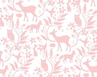 Fitted Crib Sheet Born Wild Pink- Woodland Crib Sheet - Floral Crib Bedding - Pink Crib Sheet - Girl Baby Bedding -Deer Fitted Sheet