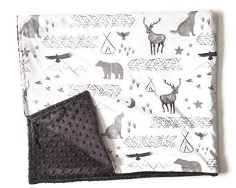 Crib Blanket Watercolor Woodland - Crib Blanket - Baby Blanket -  Grey and White Baby Blanket - Grey Teepee Blanket - Woodland Baby Blanket