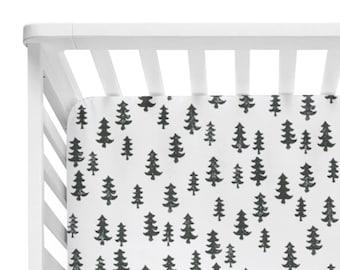 Fitted Crib Sheet Black Trees - Woodland Crib Sheet - Forest Crib Sheet - Black and White Baby Bedding- Crib Bedding-Baby Bedding-Monochrome