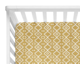Fitted Crib Sheet White on Gold Navajo- Aztec Crib Sheet- Gold Crib Sheet- Mustard Baby Bedding- Mustard Crib Sheet- Crib Bedding- Baby