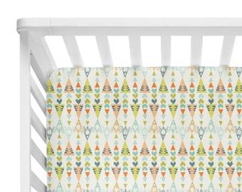 Fitted Crib Sheet Teepee Triangles Neutral - Teepee Crib Sheet-Crib Sheet- Baby Bedding- Tan Crib Bedding-Native Sheet-Organic Crib Sheet