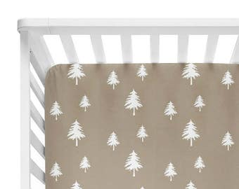 Fitted Crib Sheet Tan Linen Trees - Woodland Crib Sheet - Forest Crib Sheet - Tan Baby Bedding- Crib Bedding-Baby Bedding- Neutral Sheet