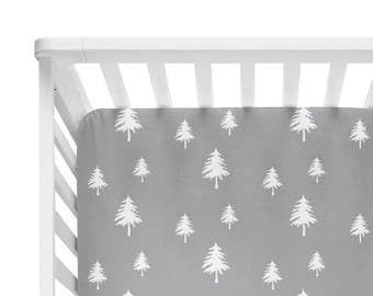 Fitted Crib Sheet Grey Linen Trees - Woodland Crib Sheet - Forest Crib Sheet - Grey Baby Bedding- Crib Bedding-Baby Bedding- Woodland