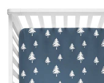 Fitted Crib Sheet Navy Linen Trees - Woodland Crib Sheet - Forest Crib Sheet - Navy Baby Bedding- Crib Bedding-Baby Bedding- Woodland