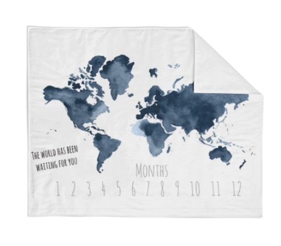 Monthly milestone blanket navy map crib blanket baby etsy image 0 gumiabroncs Images