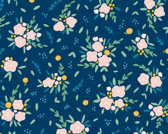 Fitted Crib Sheet Stella Navy Floral - Floral Crib Sheet - Floral Crib Bedding - Navy Crib Sheet - Girl Changing Pad - Floral Fitted Sheet