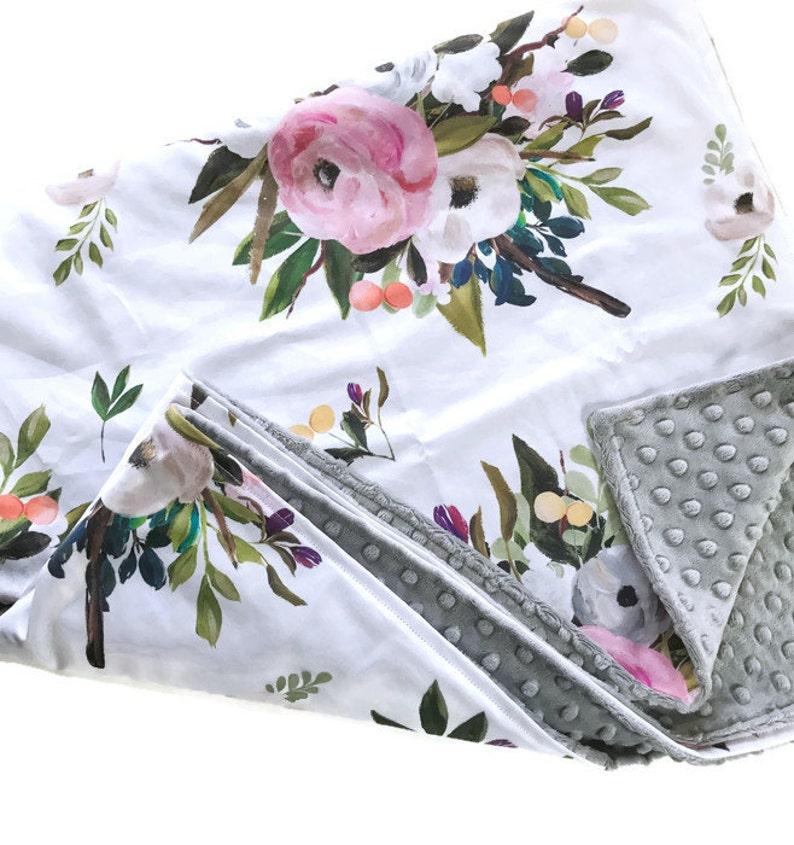 Baby Blanket Floral Baby Blanket Girl Blanket August Floral White Crib Blanket Floral Bedding Minky Blanket Floral Blanket