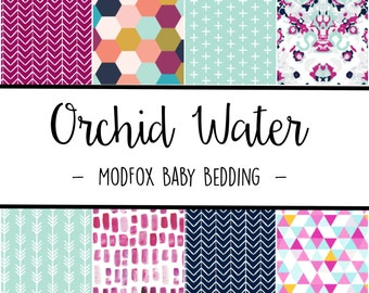 Orchid Water Baby Bedding - Watercolor Baby Bedding - Arrow Crib Sheet - Navy Crib Sheet - Purple Crib Sheet - Crib Bedding-Crib Blanket