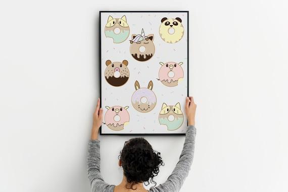 Articles Similaires A Affiche De Donuts Kawaii Imprimer Doodle