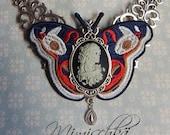 Necklace choker butterfly cameo catrina sugar skull day of dead