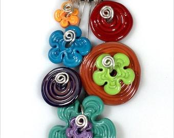 Colorful handmade glass Pendant Necklace by Thornburg Bead Studio