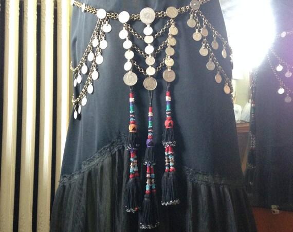Tribal Dream Belt and Body Drape: Kuchi Coin, Chain and Tassel
