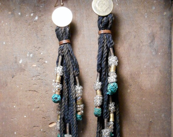 Talisman Earrings: Brass Coin, Tribal coin and tassels